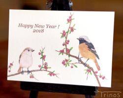 ジョウビタキの年賀状 2018