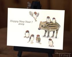 スズメの年賀状 2019